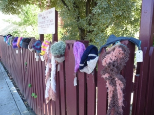 Keeping our fence warm with handmade scarves and beanies